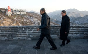 Obama in Asia: President Barack Obama tours the Great Wall of China in Badaling