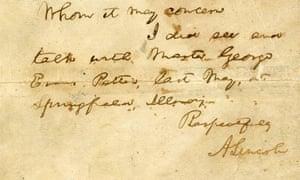 President Abraham Lincoln letter