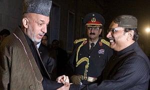 Hamid Karzai with the Pakistani president, Asif Ali Zardari