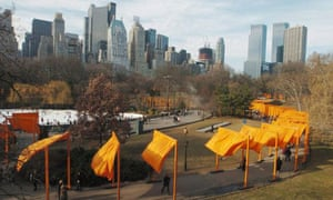 Visitors to New York's Central Park walk through Christo and Jeanne-Claude's installation titled The Gates in 2005. Photograph: Keith Bedford/EPA