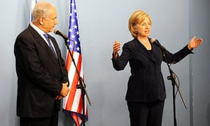 US secretary of state Hillary Clinton with Israeli prime minister Binyamin Netanyahu