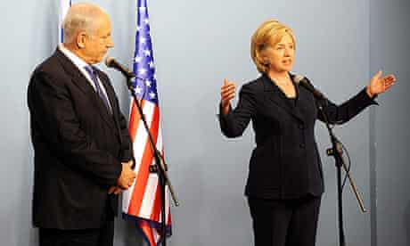 US secretary of state Hillary Clinton with Israeli prime minister Binyamin Netanyahu