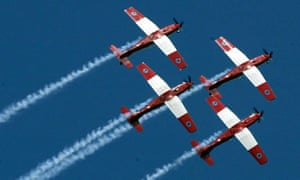 The South Africa Air Force aerobatic team, the Silver Falcons in Pilatus planes