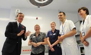 David Cameron meets staff at the Royal Marsden hospital in London on 2 November 2009.