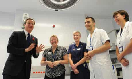 David Cameron meets staff at the Royal Marsden hospital in London on 2 November 2009.