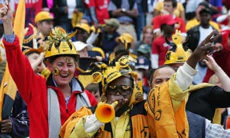 Colourful fans of South African football team the the Kaizer Chiefs