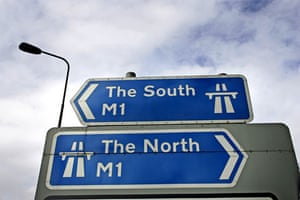 M1 motorway: A sign at Junction 26 of the M1 motorway pointing North and South