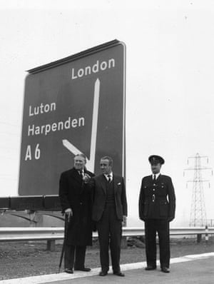 M1 motorway: Ernest Marples, centre, at the opening of the M1 motorway in November 1959