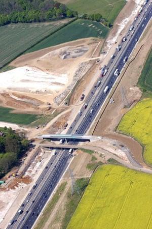 M1 motorway: 2007: An aerial view of the widening of the M1 motorway