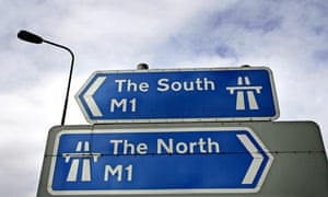 A sign at Junction 26 of the M1 motorway pointing North and South