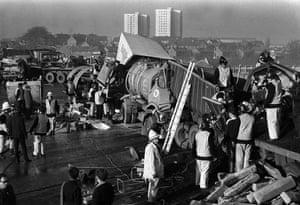 M1 motorway: 1971:  Wrecked vehicles litter the M1 motorway at Luton