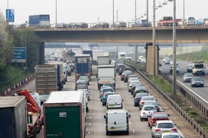M1 motorway: 2007: Heavy traffic travelling on M1 motorway in Hertfordshire