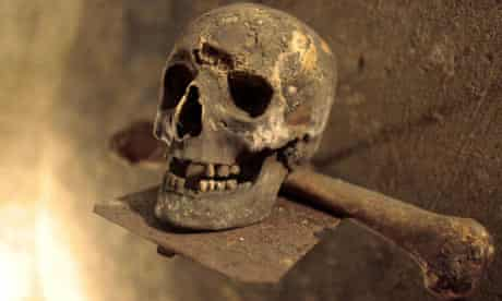 Human skull and a bone placed in the crypt under Mchaelerkirche in the centre of Vienna