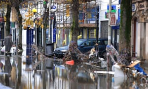 Cockermouth floods: Debris left behind by flooding in Cockermouth High Street in Cumbria
