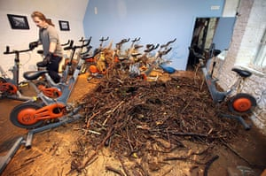 Cockermouth floods: Branches and twigs litter a gym as flood water recedes