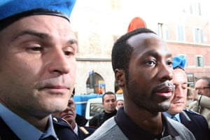 Meredith Kercher trial: Rudy Guede arrives at the Perugia courthouse for his appeal