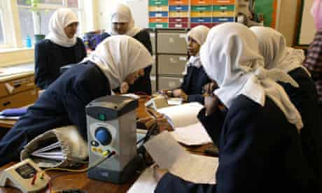 Science class at Manchester Islamic High School for Girls