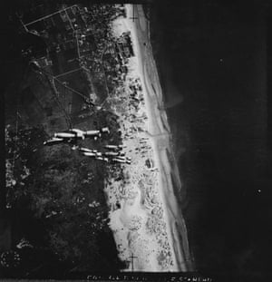 TARA aerial photography: Bomb release photograph taken during a raid at Berck Sur Mer, France