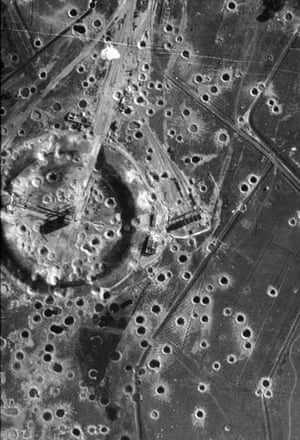 TARA aerial photography: Craters surround a site at Peenemunde following an Allied bombing raid