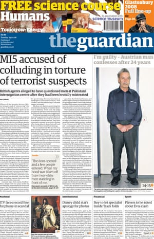 Ian Cobain's torture investigation - Guardian front page from 29 April 2009