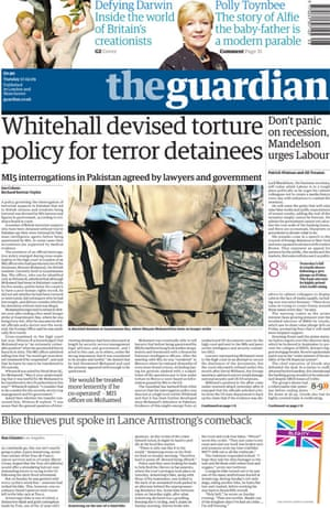 Ian Cobain's torture investigation - Guardian front page from 17 February 2009