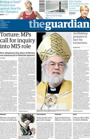 Ian Cobain's torture investigation - Guardian front page from 15 July 2009