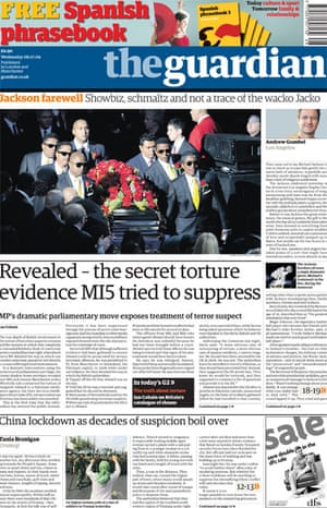 Ian Cobain's torture investigation - Guardian front page from 8 July 2009