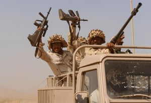 Mazrak camp in Yemen : Saudi troops cheer as they ride at the b