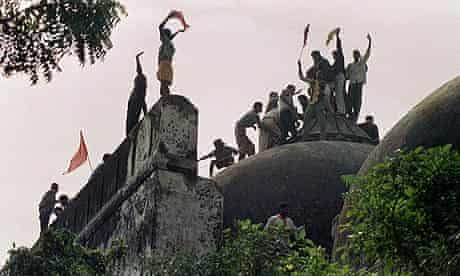 Hindu youths on the Babri mosque hours before its destruction in 1992