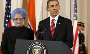 Barack Obama welcomes Manmohan Singh during a ceremony at the White House. Photograph: Larry Downing/Reuters
