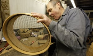 Mike Turnock making a sieve in his workshop