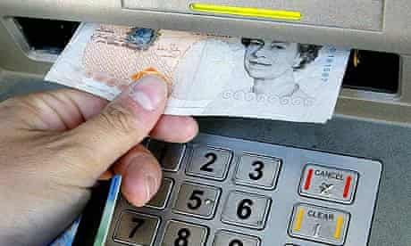 Withdrawing money from a cash machine