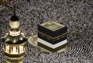 Mecca Hajj: Muslim pilgrims pray around the Kaaba inside the Grand Mosque