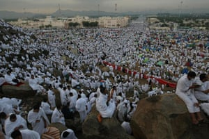 Mecca Hajj: Muslim pilgrims gather at Mount Arafat, south east of of Mecca