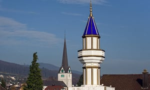 A minaret on the roof of a Turkish cultural centre in Wangen bei Olten, north-western Switzerland