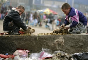 Eid al-Adha: Two boys clean the digestive track of a cow