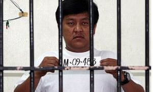 Andal Ampatuan Jr in a jail cell in Maila after being arrested for ordering the deaths of 57 people