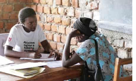 Mvule Trust interviews a young woman seeking a scholarship in Uganda.