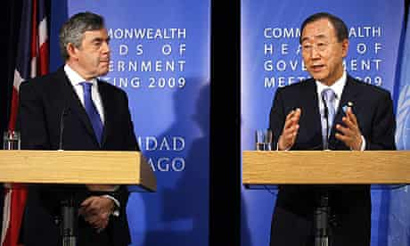 Gordon Brown and Ban Ki-moon at the Commonwealth summit where the PM announced the Afghan targets