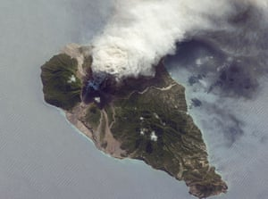 Satelitte eye on earth: The Soufriere Hills, a volcano on the island of Montserra, Caribbean Sea