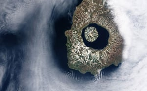 Satelitte eye on earth: Onekotan Island, one of the Kuril Islands, Kamchatka Peninsula, Russia