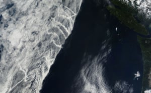 Satelitte eye on earth: Clouds forms on ship trail