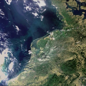 Satelitte eye on earth: dynamic landscape of the Wadden Sea, Netherlands, Germany and Denmark.