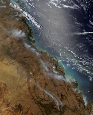 Satelitte eye on earth: Fires burned along the coast of Queensland, Australia
