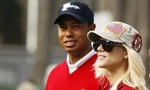 Tiger Woods with his wife, Elin Nordegren