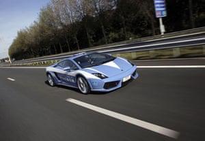 Italian police car crash : A Lamborghini Gallardo police car belonging to Italian traffic police