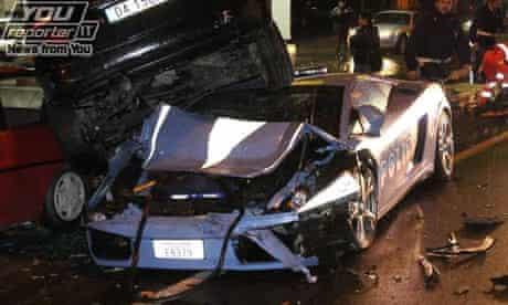 An Italian police Lamborghini Gallardo that crashed into parked cars