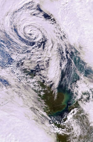 Satellite Eye on Earth: A depression covering most of the North Sea and the British Isles