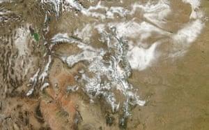 Satellite Eye on Earth: White snow covers the Rocky Mountains : Colorado River