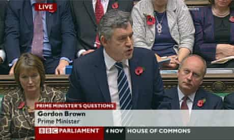 Prime Minister Gordon Brown speaks during Prime Minister's Questions